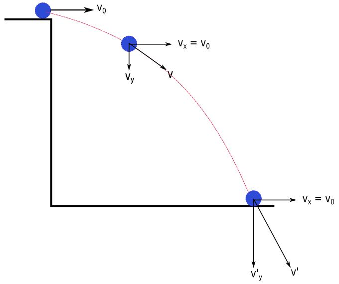 Yatay atış hareketinde hız vektörü